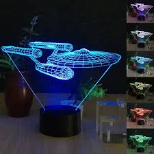 table l bulb holder with switch creative 3d illusion spaceship shape 7 color led night light usb