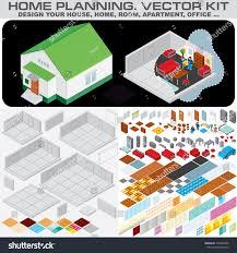 home planning set isometric vector kit stock vector 159492488
