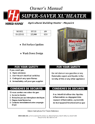 hired hand super savers forced air heaters xl maywick ss 225 xl