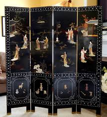 vintage oriental folding screen room divider double sided