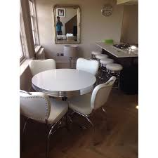 kitchen style white retro dining table and chairs retro kitchen