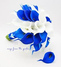 royal blue boutonniere real touch calla bridal bouquet groom boutonniere royal blue