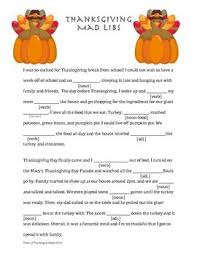 this is a one page thanksgiving themed mad lib using nouns verbs