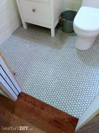 Hardwood Floors In Bathroom Guest Bathroom 7 Diy Hex Tile Floor