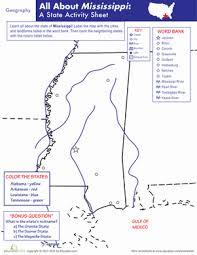 mississippi geography worksheet education com