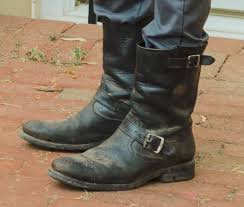 engineer style motorcycle boots negan from the walking dead id u0027ing parts making the jacket pic
