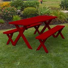 a u0026amp l furniture western red cedar crossleg picnic table with 2