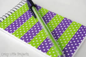 add washi for unique notebook and pen set crafts