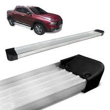 fiat toro bed estribo fiat toro lateral plataforma aluminio prata anodizado