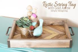 diy tray rustic serving tray with gold arrow accent