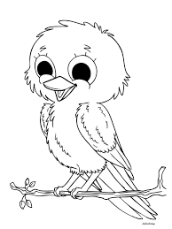 printable naughty bird enjoying weather for coloring didi