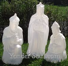 Outdoor Nativity Lighted - lighted white outdoor nativity wisemen yonder star christmas