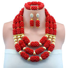 red crystal beads necklace images Red handmade copper beads african wedding jewelry set african jpg