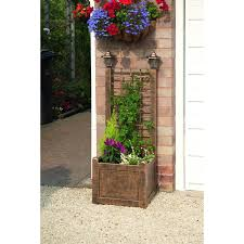 gablemere trellis planter with 2 solar lights in bronze u2013 next day