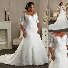 plus size bridal gowns the shoulder plus size wedding dresses half sleeves sweetheart