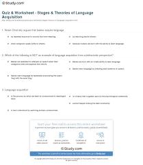 quiz u0026 worksheet stages u0026 theories of language acquisition