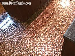 Tiling On Concrete Floor Basement by Penny Floor Penny Tile Floor Copper Tile Flooring Ideas