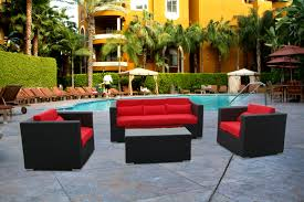 black patio table glass top furniture affordable black wicker patio furniture set with red