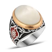 men ring designs exclusive design silver men ring with white pearl nacre ottoman