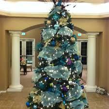 aqua blue tulle garland ribbon tree decor
