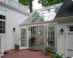 interior exterior view of sunroom design idea with skylight plus