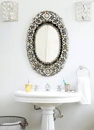 Bathroom Mirror Vintage Glam Powder Room With Antique Oval Mirror Transitional Bathroom