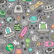 doodle galaxy invaders space ship fabric wallpaper gift wrap spoonflower