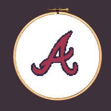 atlanta braves cross stitch pattern mlb logo baseball sports
