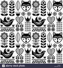 scandinavian seamless folk art pattern black finnish design