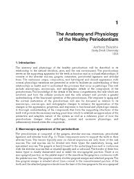 Fundamental Anatomy And Physiology The Anatomy And Physiology Of The Healthy Periodontium Human