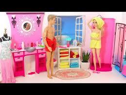 barbie u0026 ken evening routine pink bathroom bedroom morning routine