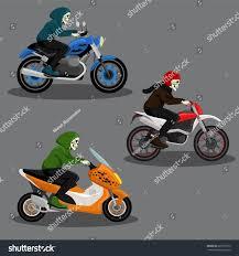 Halloween Skeleton Cartoon Halloween Skeleton Character Riding Motorbike Vector Stock Vector