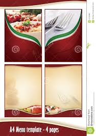 a4 4 pages menu template italian restaurant royalty free stock