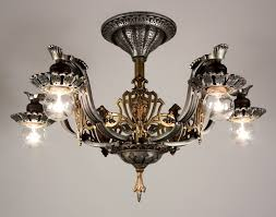 Tudor Chandelier Superb Antique Semi Flush Five Light Tudor Chandelier With Fleur