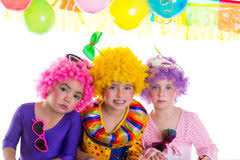 two cheerful clowns birthday children bright stock photo happy children with clown on birthday party stock photo image of