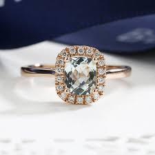 aquamarine engagement ring rose gold art deco diamond wedding halo