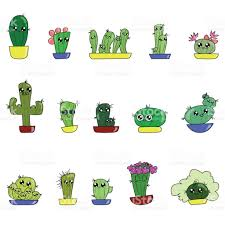 pattern of cute cartoon handdraw cactus in different pots stock