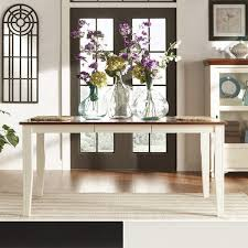 Tribecca Home Eli Rustic Twotone Mission Extending Dining Table - Tribecca home mckay country antique white pedestal extending dining table