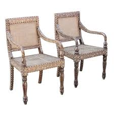 Bone Inlay Chair Vintage Anglo Indian Bone Inlay Caned Seat U0026 Back Chairs Omero Home