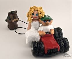 tractor cake topper and groom tractor with custom wedding cake topper
