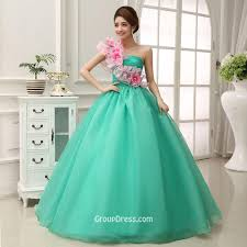 one shoulder floral layered green tulle quinceanera dress