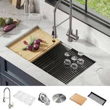 metal kitchen sink and cabinet combo kraus workstation undermount single bowl stainless steel kitchen sink combo