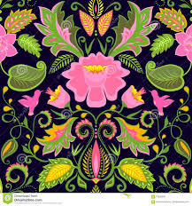 vintage ornate floral wallpaper with exotic flowers and birds