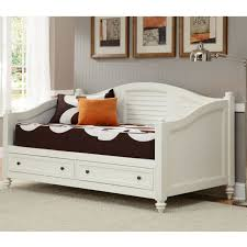 bedroom white wooden twin size daybed with drawers having brown