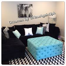 coffee table tufted squareman coffee table center bench diy blue