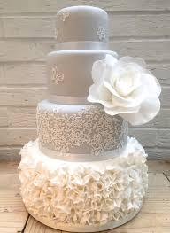 grey ruffle lace wedding cake etoile bakery