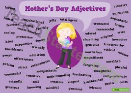 mother u0027s day adjectives poster