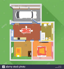 a house in section with a car in garage a bathroom a kitchen and a house in section with a car in garage a bathroom a kitchen and 2 living rooms top view over a green background digital im