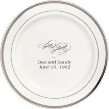 personalized anniversary plates 7 inch silver trim plastic dessert plates my wedding reception ideas