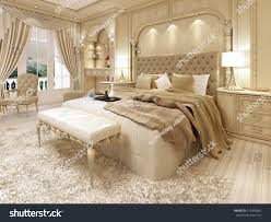 luxury bed large neoclassical bedroom decorative stock